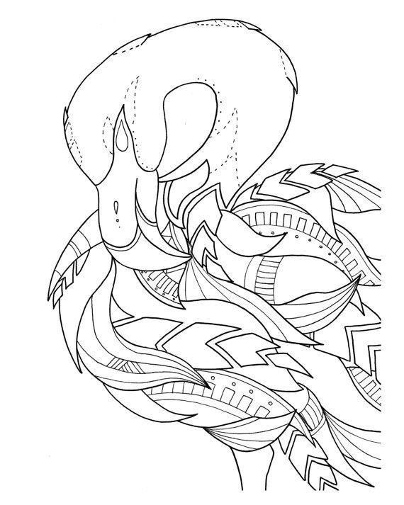 pre-framed flamingo coloring page by syvanahbennett on