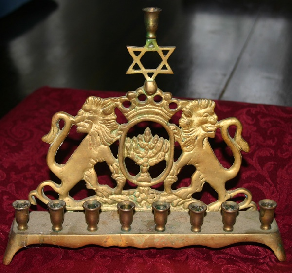 Antique Brass Jewish Star Lion Candelabra Menorah