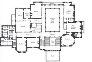 Ochre Court: 2nd floor plan. The use of space was quite
