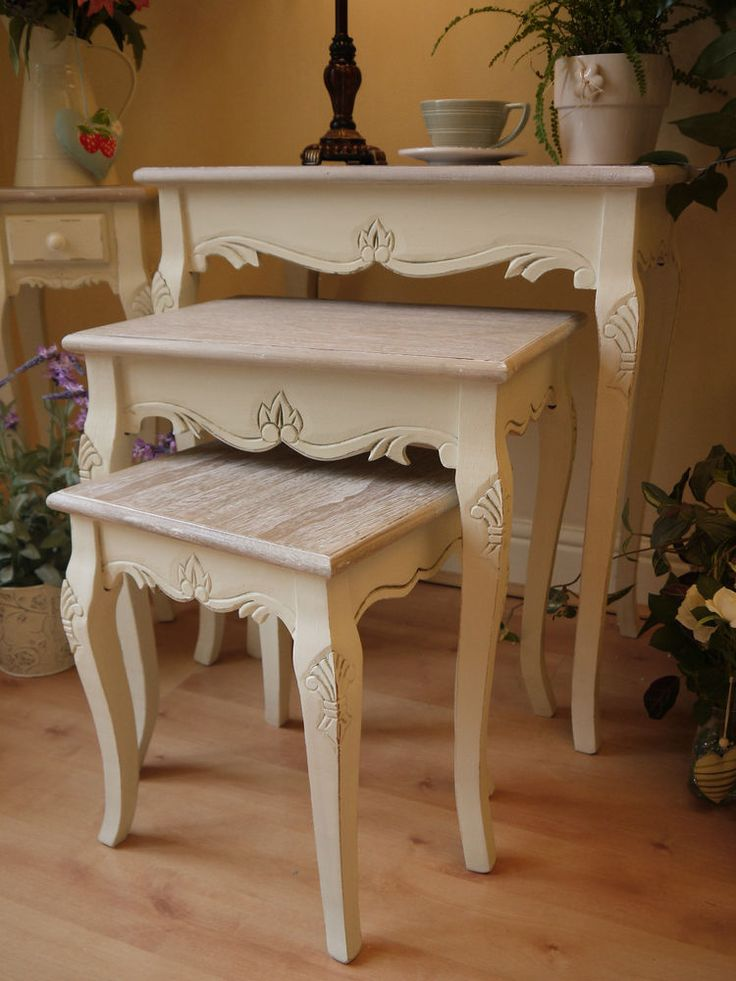 upcycled dining room chairs outdoor rocker chair covers shabby chic french vintage style cream nest of tables side lamp occasional new | vintage, ...