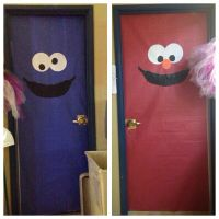 Sesame Street bathroom door decorations!! Cookie Monster