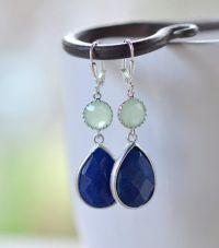 Navy Blue and Mint Jewel Gem Earrings in Silver. Dangle ...