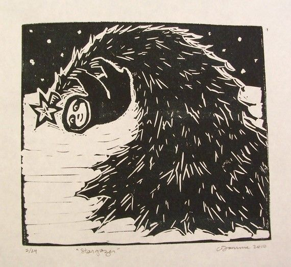 Stargazer Sloth Linocut Limited Edition Black And By