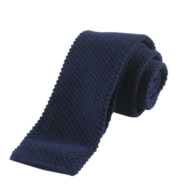 New Vintage Mens Navy Blue Square End Cotton Knit Necktie