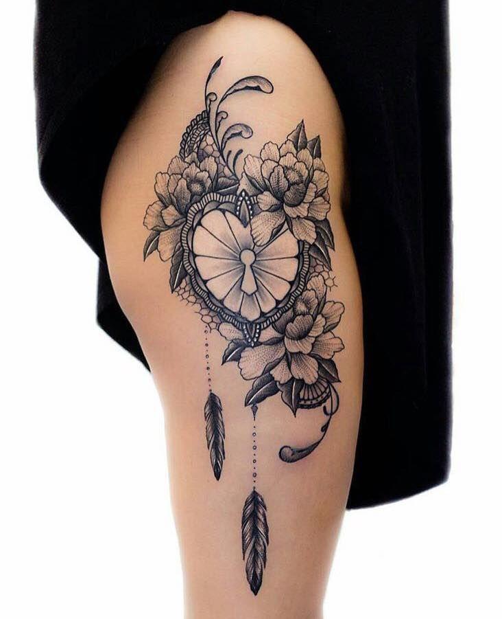 Tatouage Rose Femme Cuisse