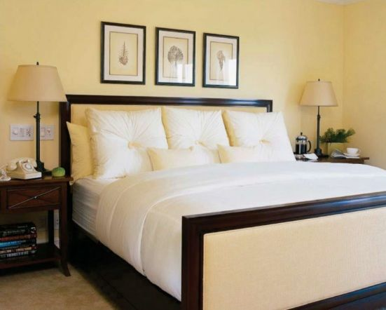 Wonderful Yellow Color For Bedroom Walls Love The Upholstered Bed Too