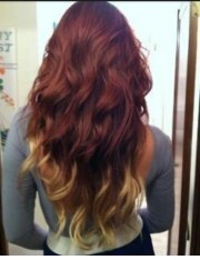 red asian hair with blonde ombre