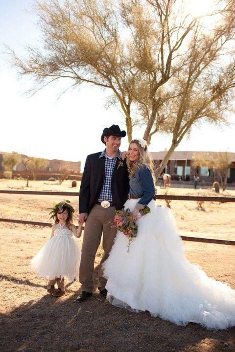 denim jacket with wedding dress  CowboyWestern Country Rustic Barn Wedding  Pinterest  Denim