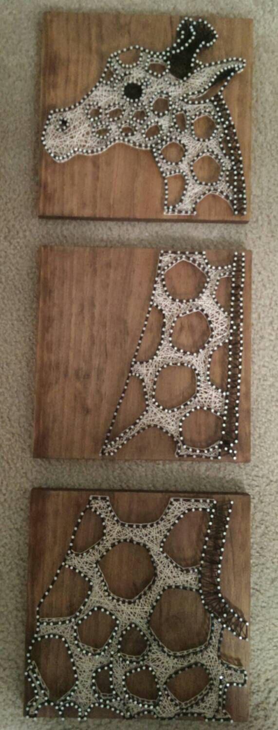 3 Panel Giraffe – Nail and String Art by brokenwingArts