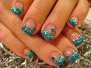 teal under sea sparkles nail