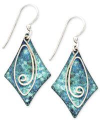 Jody Coyote Patina Brass Earrings, Blue Diamond Swirl Drop ...