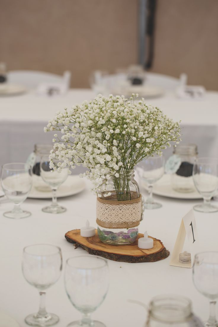 Babys Breath In Mason Jars With Burlap And Lace Wedding