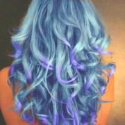 curled blue-green hair . purple
