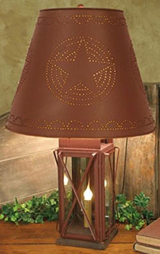 New Primitive Burgundy MILKHOUSE LAMP Electric Light Punched BARN STAR Shade  Shades Stars and