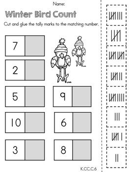 Kindergarten Winter Math Worksheets (Common Core Aligned