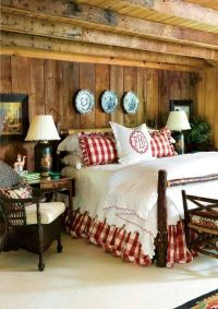Country gingham shams and bed skirt in red ~ fun way to ...