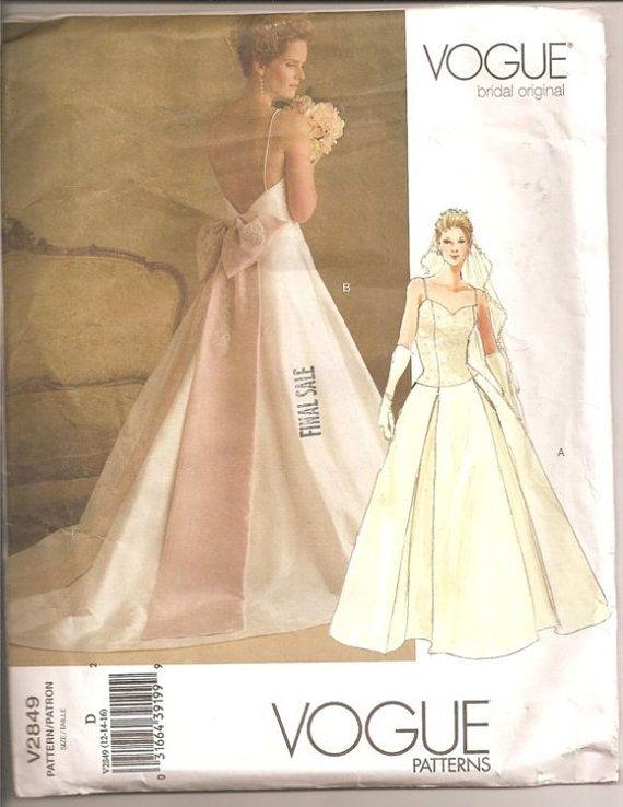 Vogue Sewing Pattern V2849 Wedding Bridal Gown Bride Sizes