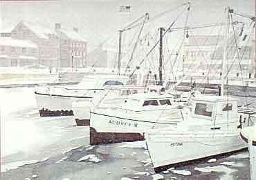 Art Misty Harborprint By Linda Roberts Annapolis Harbor Snow LR Watercolor Giclees