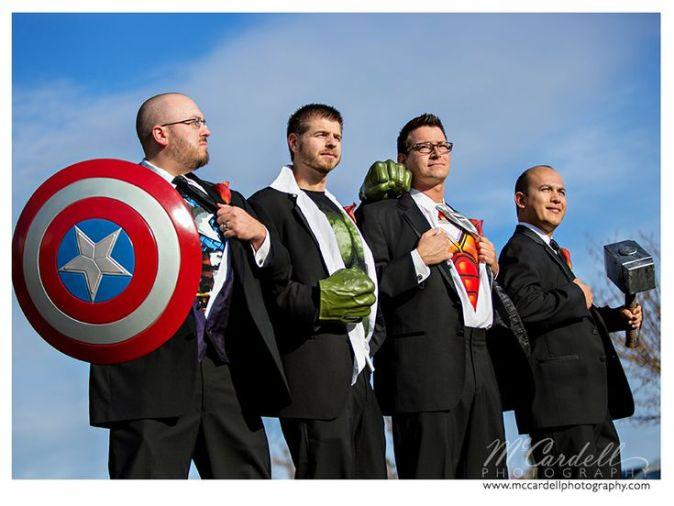 The Groom and his Avengers, I mean Groomsmen. #superherowedding @Proximity Hotel Weddings: