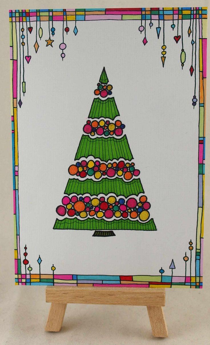 Doodling Christmas Card Doodling Christmas Tree And