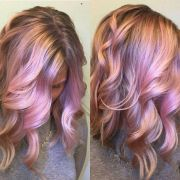 iridescent pink and rose gold hair