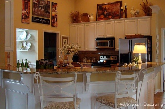 Above the cabinets decorating idea  Kitchen  Pinterest  Breakfast bars Decorating ideas and