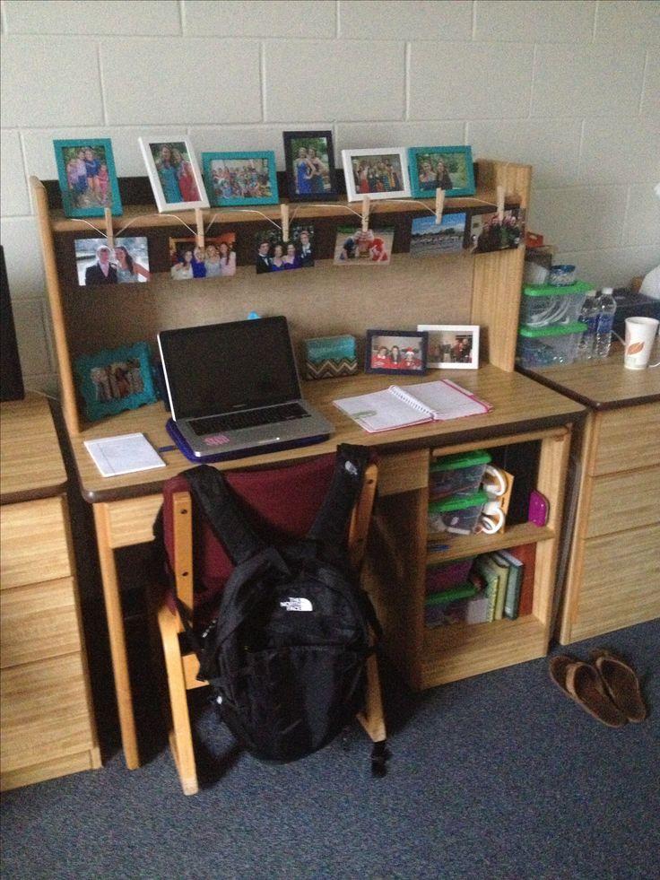 My dorm room desk  SARAH BENNETT  Pinterest  Shelves I