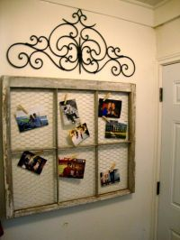 Window Frame turned picture frame with Chicken Wire....Now