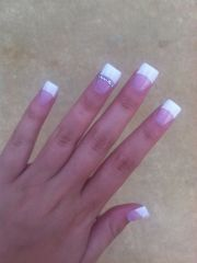 white tip nails with little diamonds