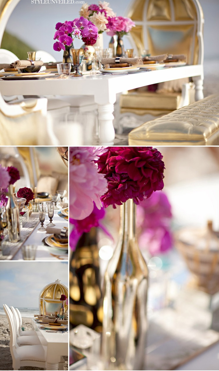 White and gold with fuschia accents  Entertaining Sonoma Style  Pinterest  Red gold Flower