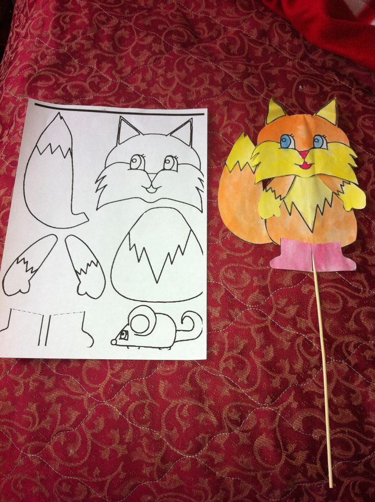 Easy FallAutumn Kids Craft Mr Fox Stick Puppet And
