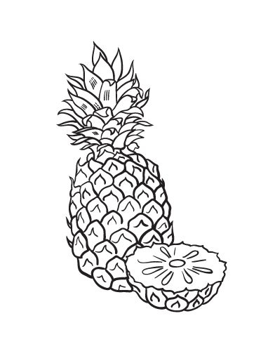 Printable pineapple coloring page. Free PDF download at