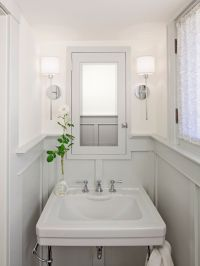 bathrooms - chrome sconces fixtures gray wainscoting gray ...