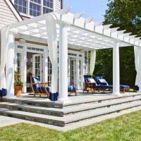 Porch. French doors. Steps. Columns. Pergola. Drapes ...
