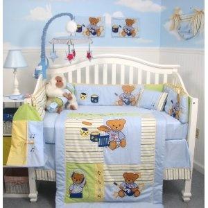 Soho Rock N Roll Teddy Bear Crib Nursery Bedding Set 13