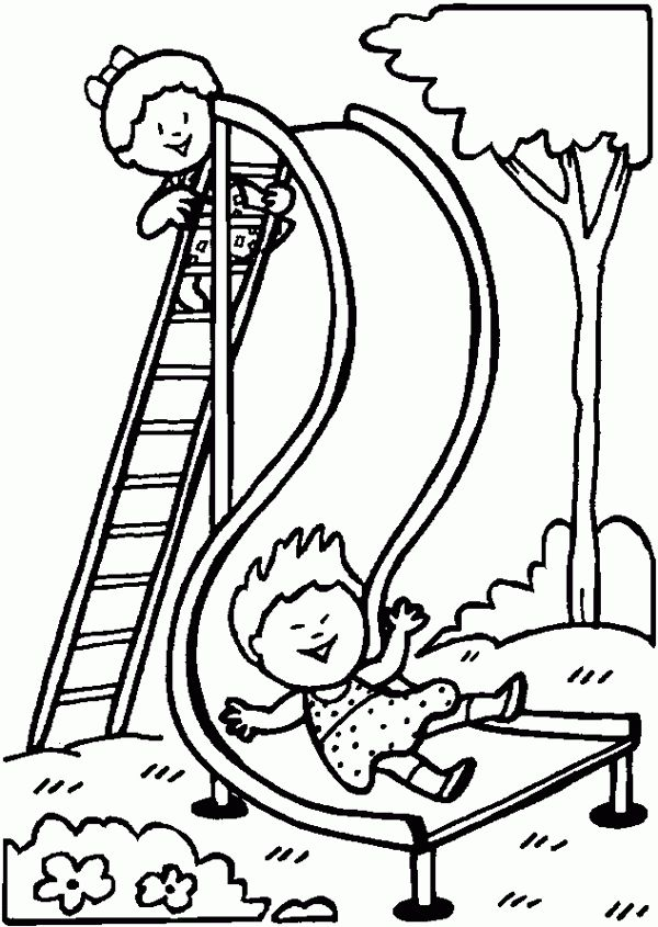 People and places coloring pages: Playground slide