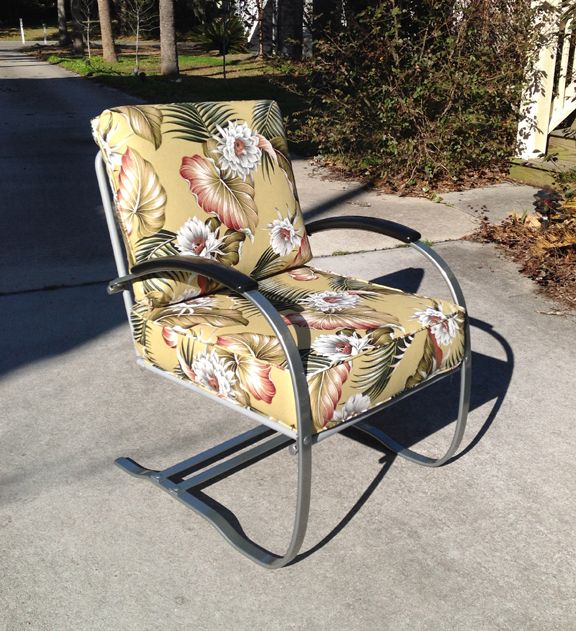 ab rocker chair resin white chairs '30s howell bouncer, custom barkcloth cushions. indoors or out. | vintage metal porch ...