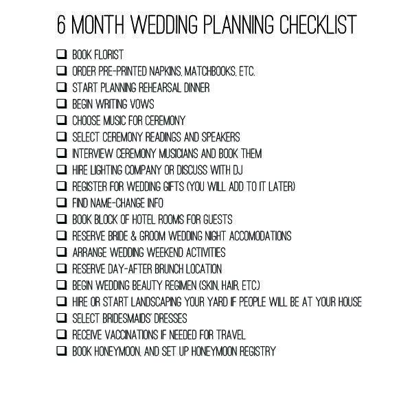 6 month wedding checklist planning timeline  bexbernardcom  Wedding  Pinterest  Timeline