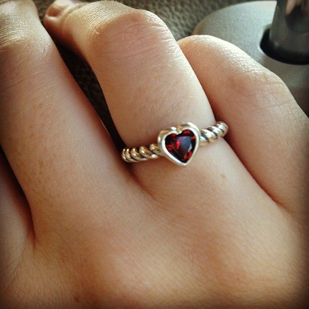 Heart With Garnet Twisted Wire Ring From James Avery