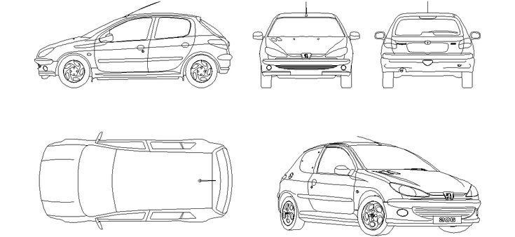 Dwg Adı : Peugeot 206 çizimi İndirme Linki : http://www