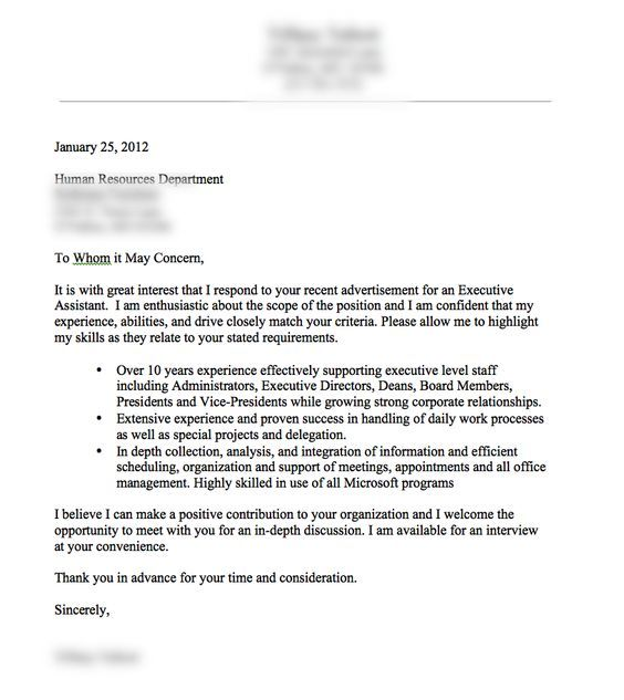 Example Of A Good Cover Letter For A Resume