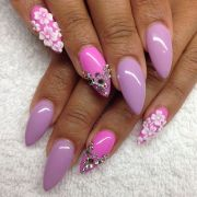 purple and pink stiletto with white