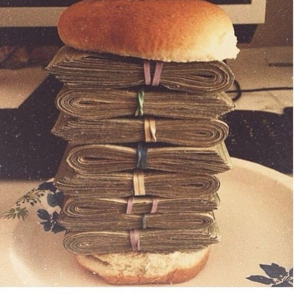 Sandwich made of MONEY Money Sandwich Pinterest