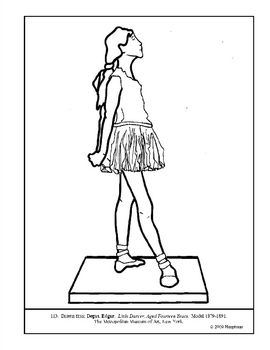 Degas. Little Dancer, Aged 14 Years. Coloring page