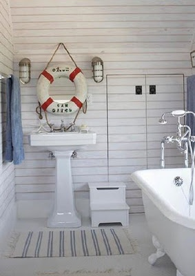 Coastal Bathroom with horizontal wood board paneling