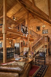 Log Home Stairs & Rails - Log Homes of America | Rustic ...