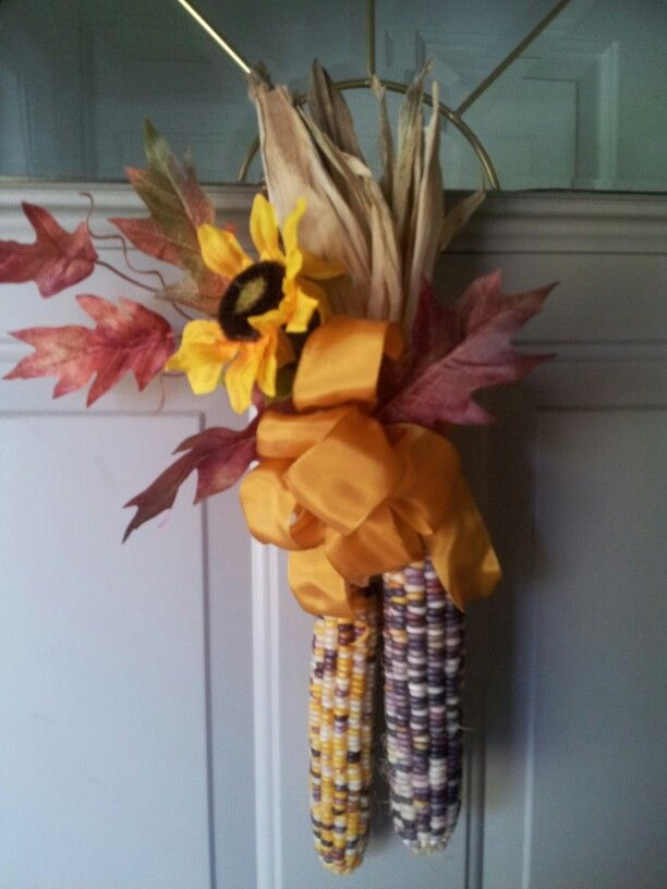 Indian Corn Door Decor My Fall Projectsdecorating
