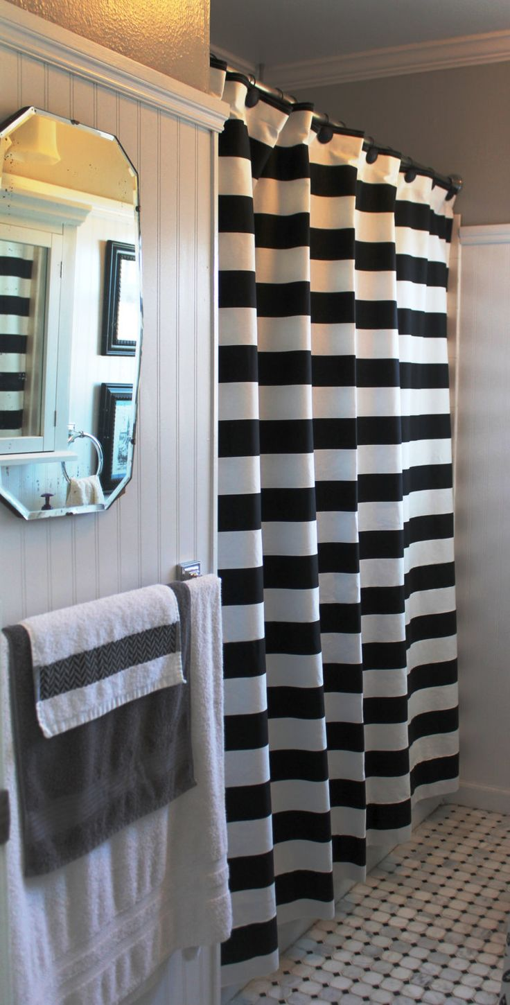 Brown And White Striped Shower Curtain - Best white shower curtain