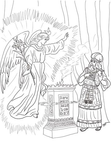 Angel Visits Zechariah coloring page from John the Baptist