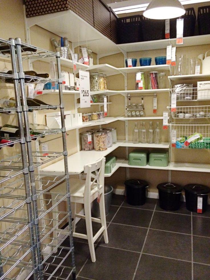 Ikea Algot shelves in corner  closet  Pinterest  Pantry